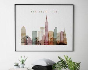 San Francisco poster watercolor 1 landscape second