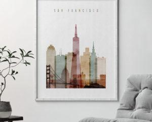 San Francisco wall art watercolor 1 second