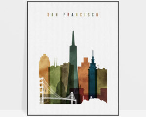San Francisco skyline art watercolor 3
