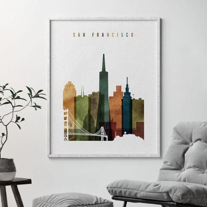 San Francisco skyline art watercolor 3 second