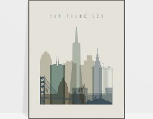 San Francisco print skyline earth tones 1