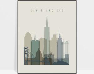 San Francisco print skyline earth tones 1