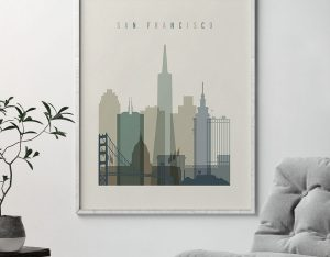 San Francisco print skyline earth tones 1 second