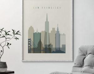 San Francisco print skyline earth tones 1 second