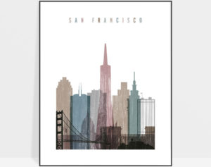 San Francisco skyline poster distressed 1