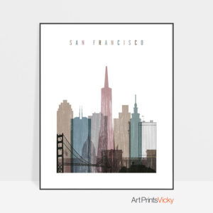 San Francisco skyline poster distressed 1