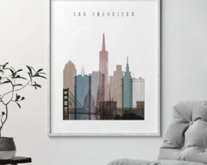 San Francisco skyline poster distressed 1 second