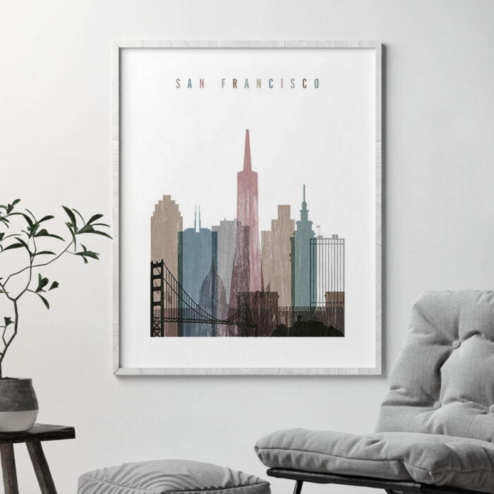 San Francisco skyline poster distressed 1 second