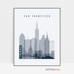 San Francisco skyline poster grey blue