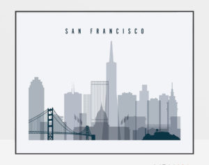 San Francisco skyline art grey blue landscape
