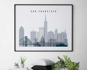 San Francisco skyline art grey blue landscape second