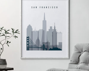 San Francisco skyline poster grey blue second