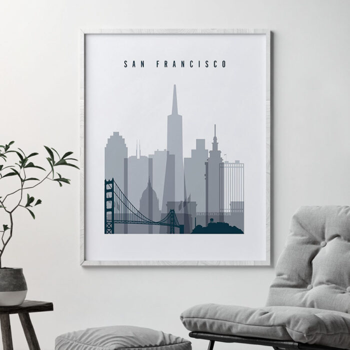 San Francisco skyline poster grey blue second