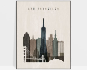 San Francisco skyline print distressed 2