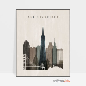 San Francisco skyline print distressed 2
