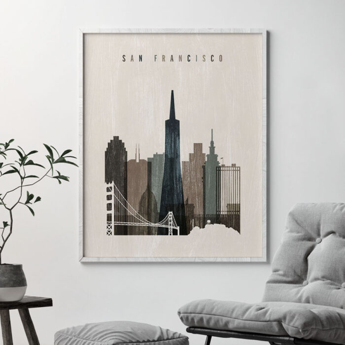 San Francisco skyline print distressed 2 second