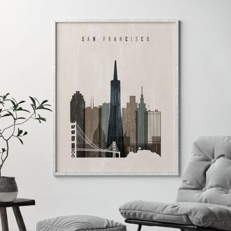 San Francisco skyline print distressed 2 second