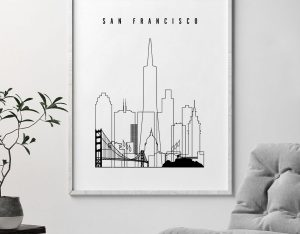 San Francisco skyline black and white print second