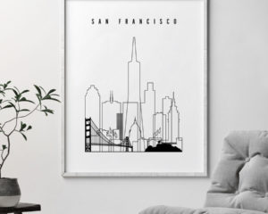San Francisco skyline black and white print second