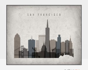 San Francisco art print landscape retro