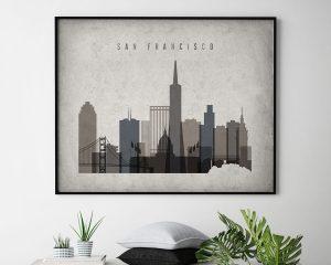 San Francisco art print landscape retro second