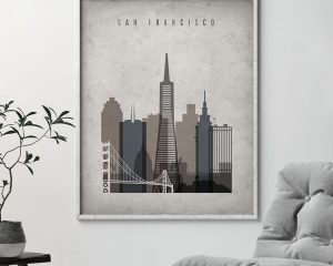 San Francisco skyline wall art retro second