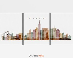 San Francisco triptych wall art watercolor 1