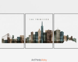 San Francisco set of 3 prints skyline watercolor 2