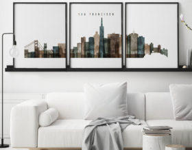 San Francisco set of 3 prints skyline watercolor 2 second
