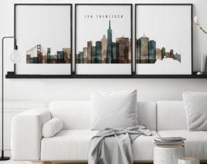 San Francisco set of 3 prints skyline watercolor 2 second