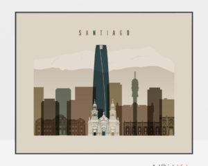 Santiago art print landscape earth tones 3