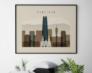 Santiago art print landscape earth tones 3 second