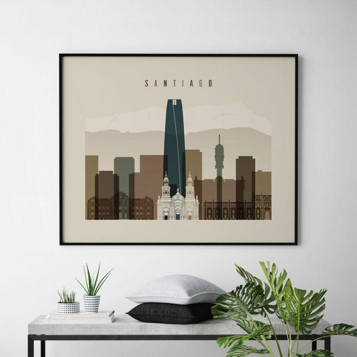 Santiago art print landscape earth tones 3 second