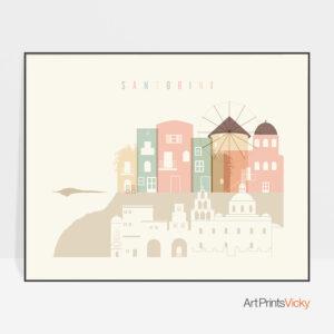 Santorini art print skyline pastel cream landscape