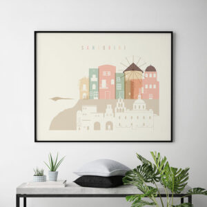 Santorini art print skyline pastel cream landscape second