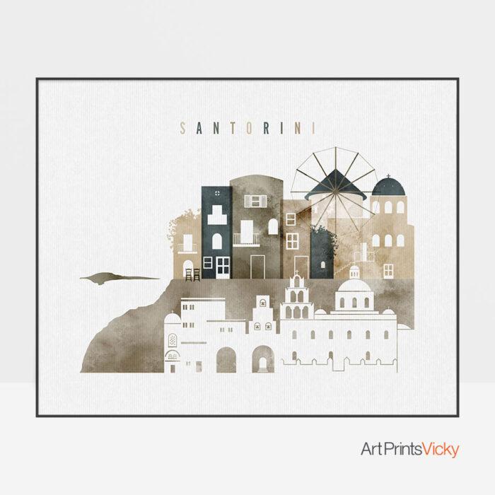 Santorini poster watercolor 2 landscape