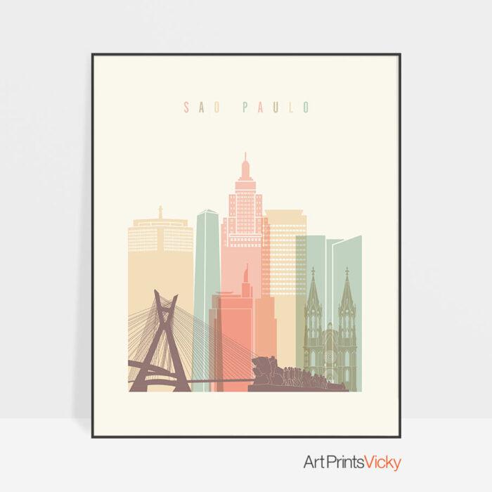 Sao Paulo poster skyline pastel cream