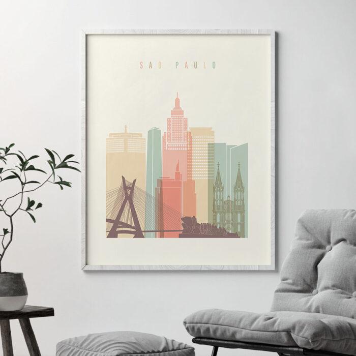 Sao Paulo poster skyline pastel cream second