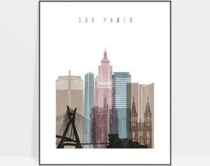 Sao Paulo skyline poster distressed 1