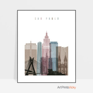 Sao Paulo skyline poster distressed 1