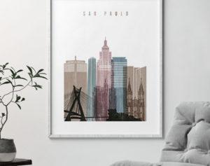 Sao Paulo skyline poster distressed 1 second