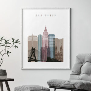 Sao Paulo skyline poster distressed 1 second