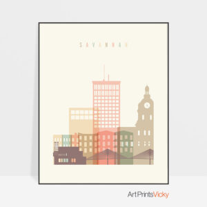 Savannah poster skyline pastel cream