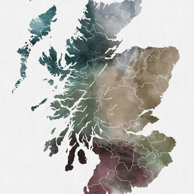 Scotland map print detail