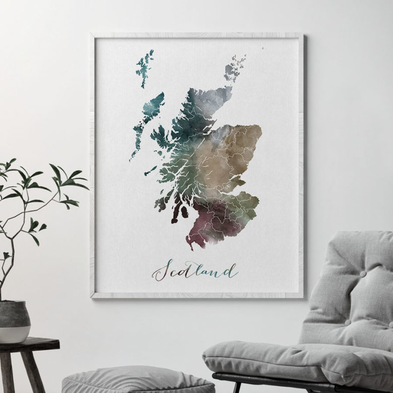Scotland map print second