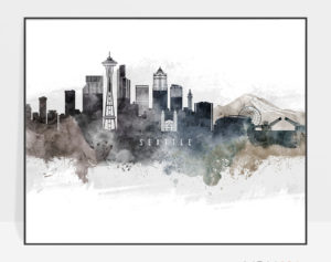 Seattle art poster watercolor