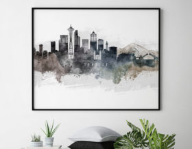 Seattle art poster watercolor second