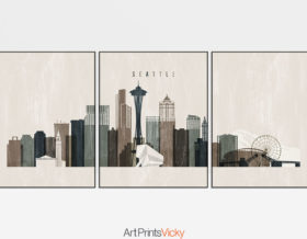 Seattle wall art set of 3 prints distressed 2