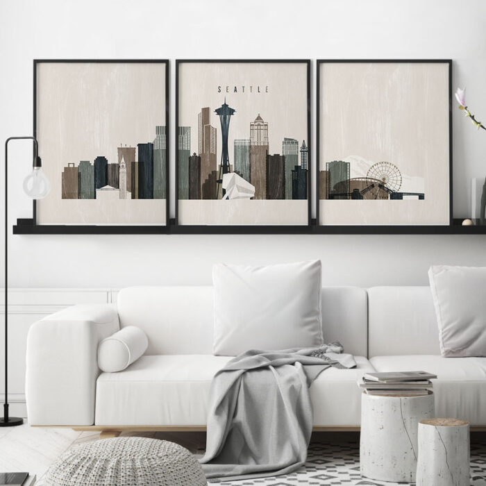 Seattle wall art set of 3 prints distressed 2 second