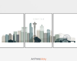 Seattle skyline art set of 3 prints earth tones 4